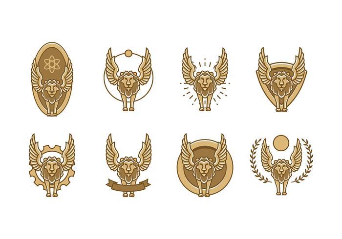 Logotipo do leão alado vetor livre
