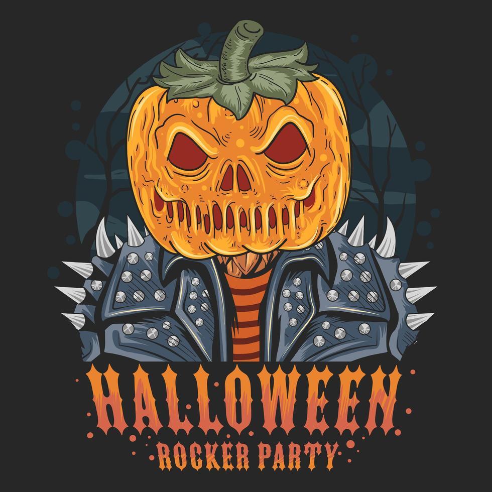 cabeça de abóbora de halloween com jaqueta rocker vetor