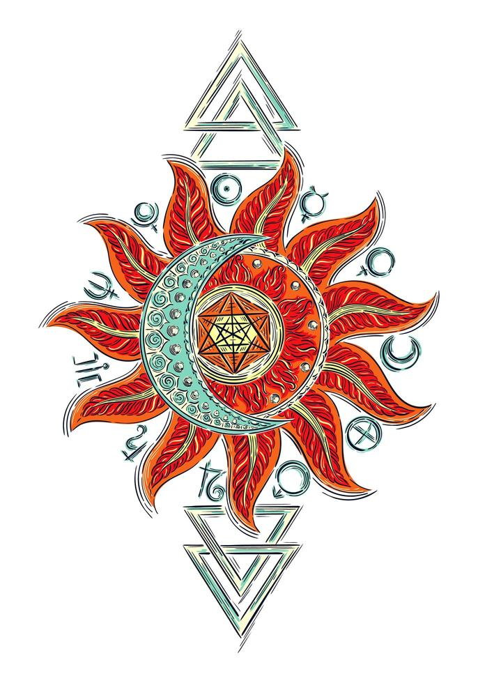 símbolos alquímicos, design boho vetor