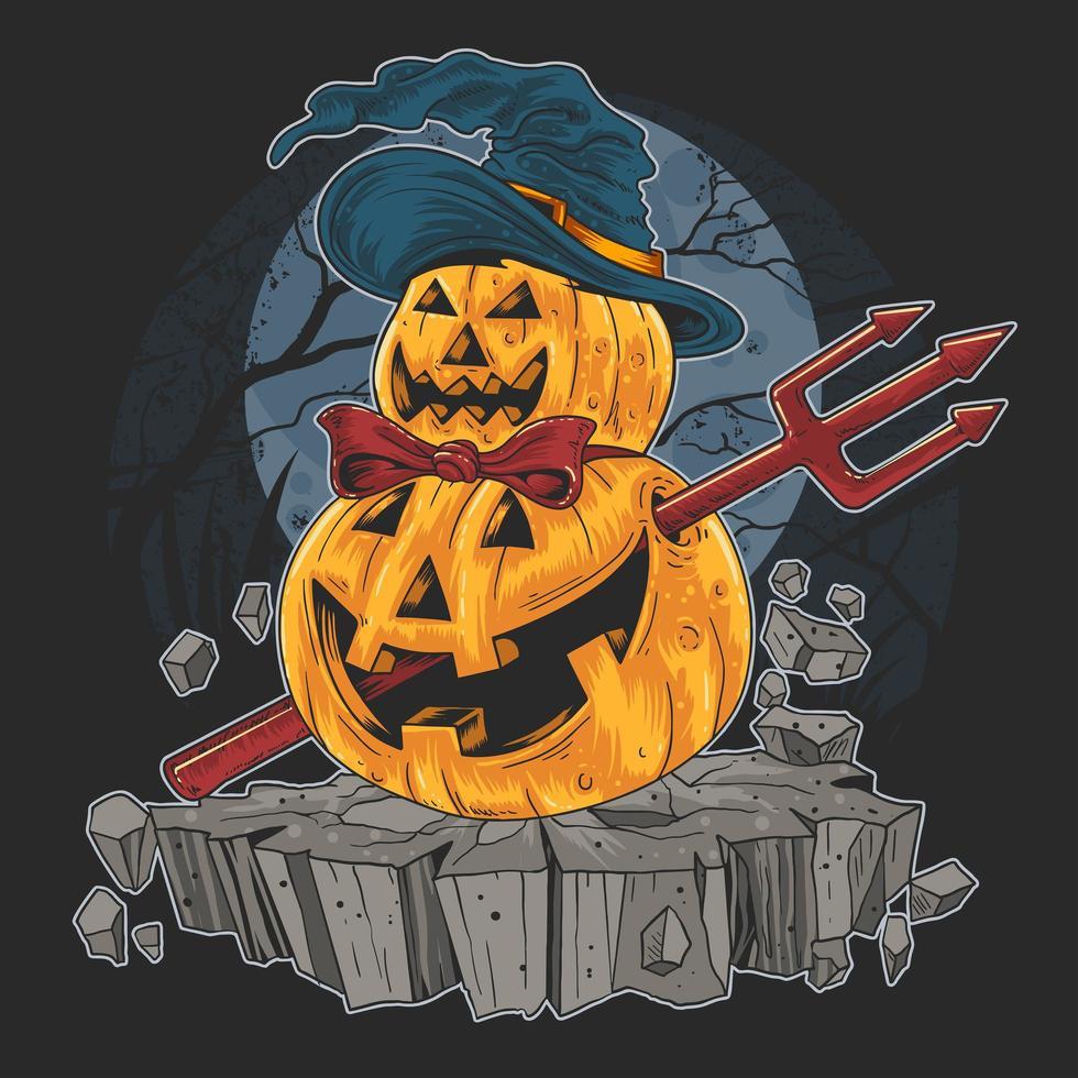 abóbora de halloween com chapéu e pau do diabo vetor