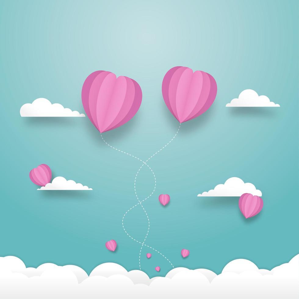 balões de coração voando no céu com céu nublado vetor