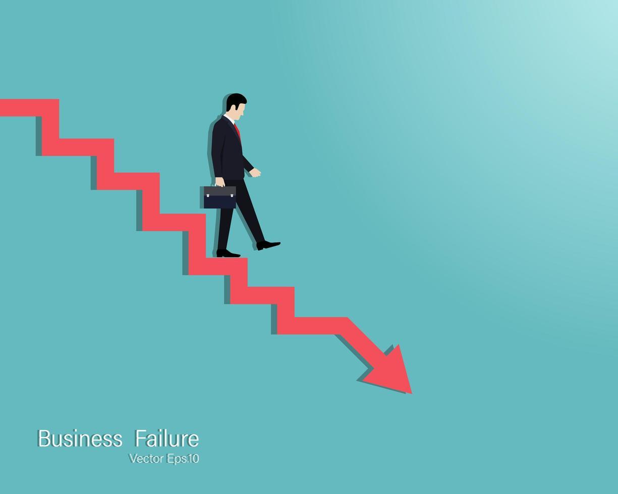 seta de fracasso empresarial vetor