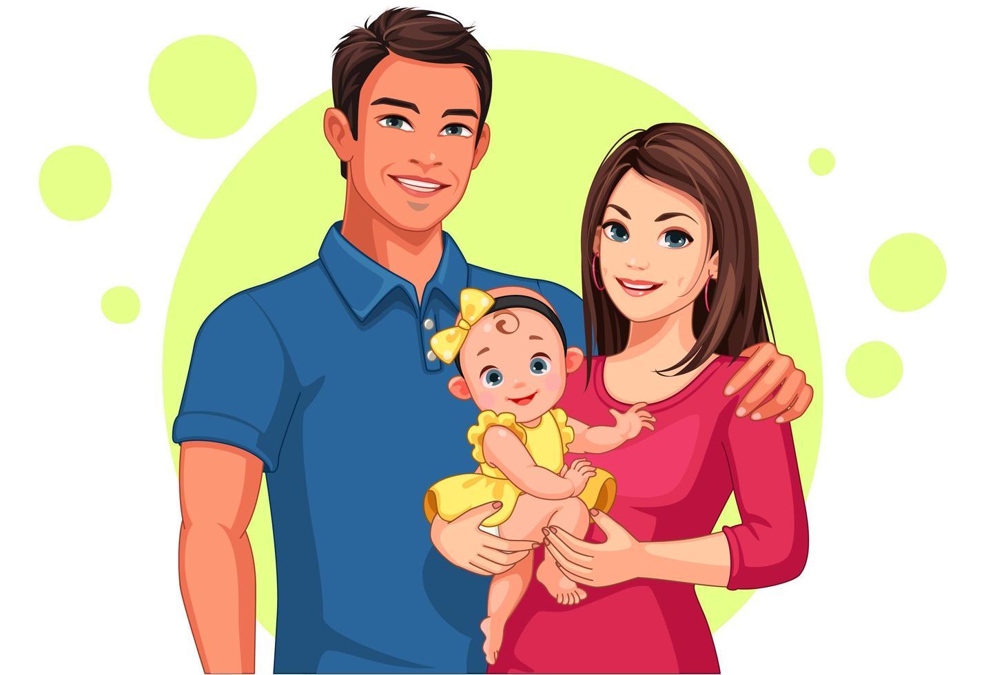 pai e mãe com filha vetor