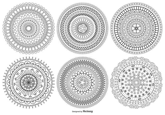 Coleção de formas vetoriais estilo Mandala vetor