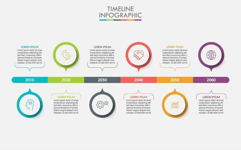 infográfico de negócios de 6 etapas da linha do tempo do círculo colorido vetor