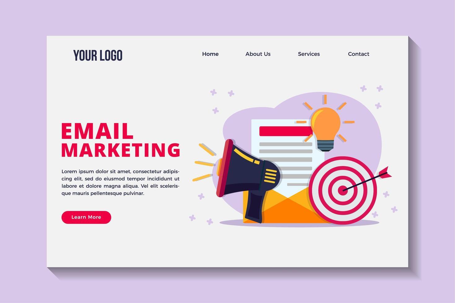 modelo de página de destino de conceito de marketing por e-mail vetor