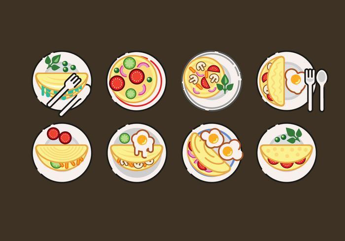 Ilustração do conjunto de vetores de omelete