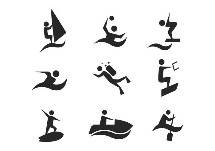 Vetor de ícones de esportes aquáticos grátis
