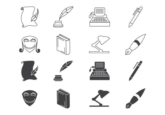Vector de ícones de escrita e literatura grátis
