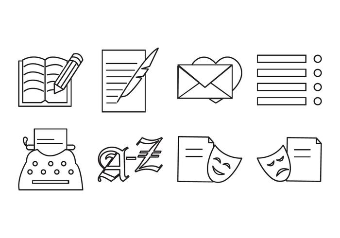 Vector de ícones de escrita e poesia grátis