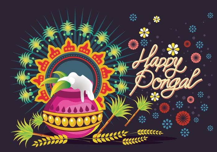 Ilustração vetorial de Happy Pongal Greeting Background vetor