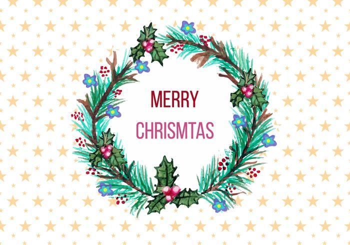 Grinalda de Natal grátis para vetores em estilo aquarela