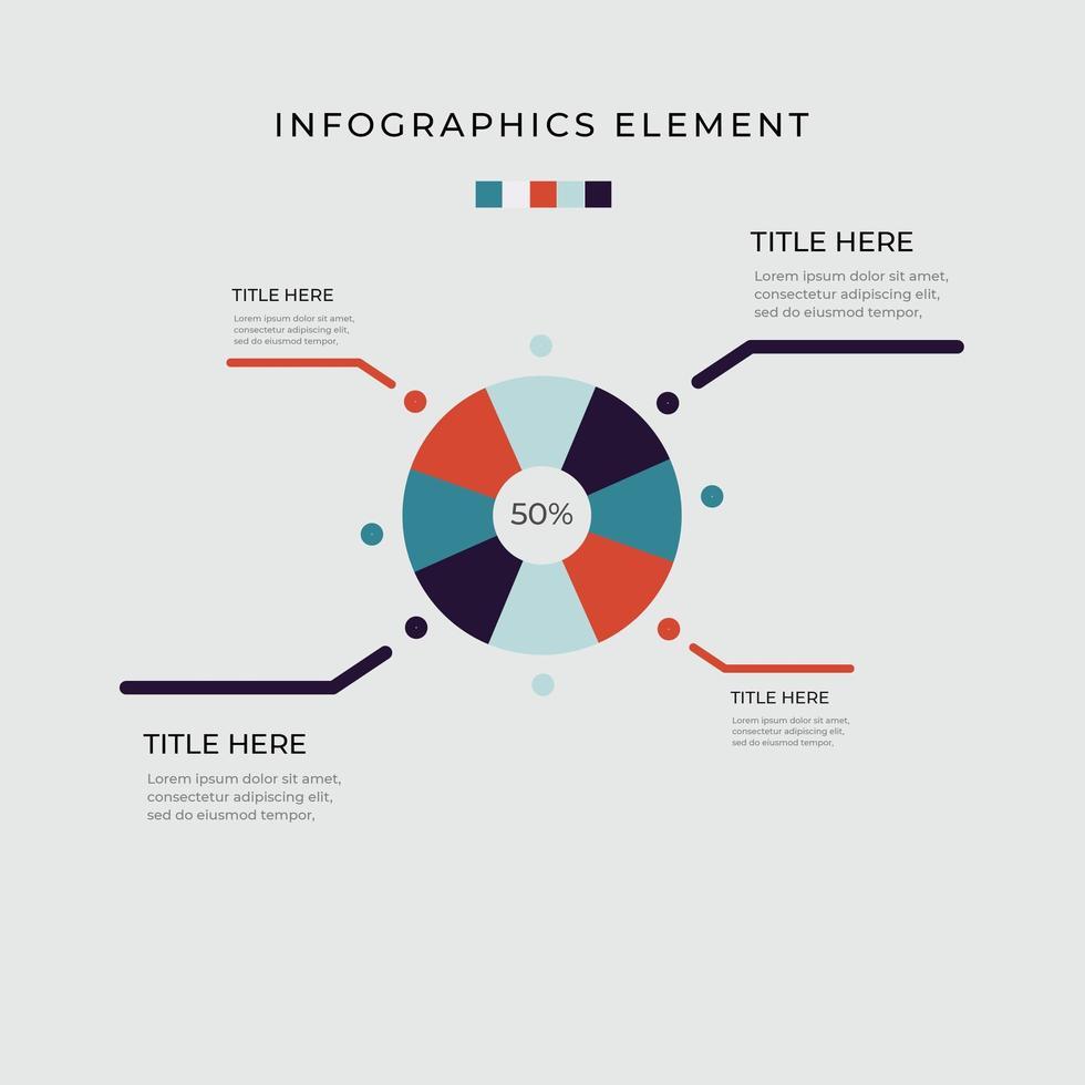 Infográfico de diagrama de círculo de gráfico de pizza de 4 opções vetor