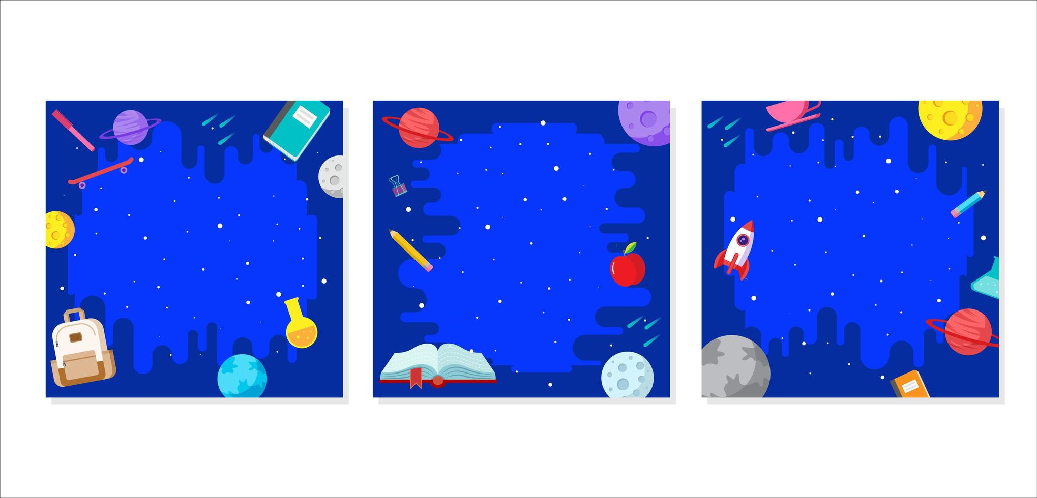 conjunto de quadro de perfil de conceito de galáxia espacial vetor