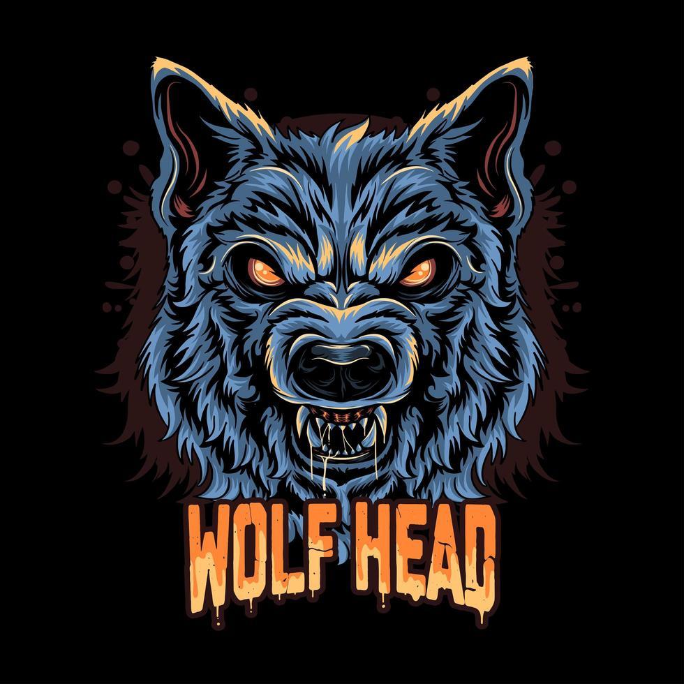 arte de rosto de lobo zangado vetor