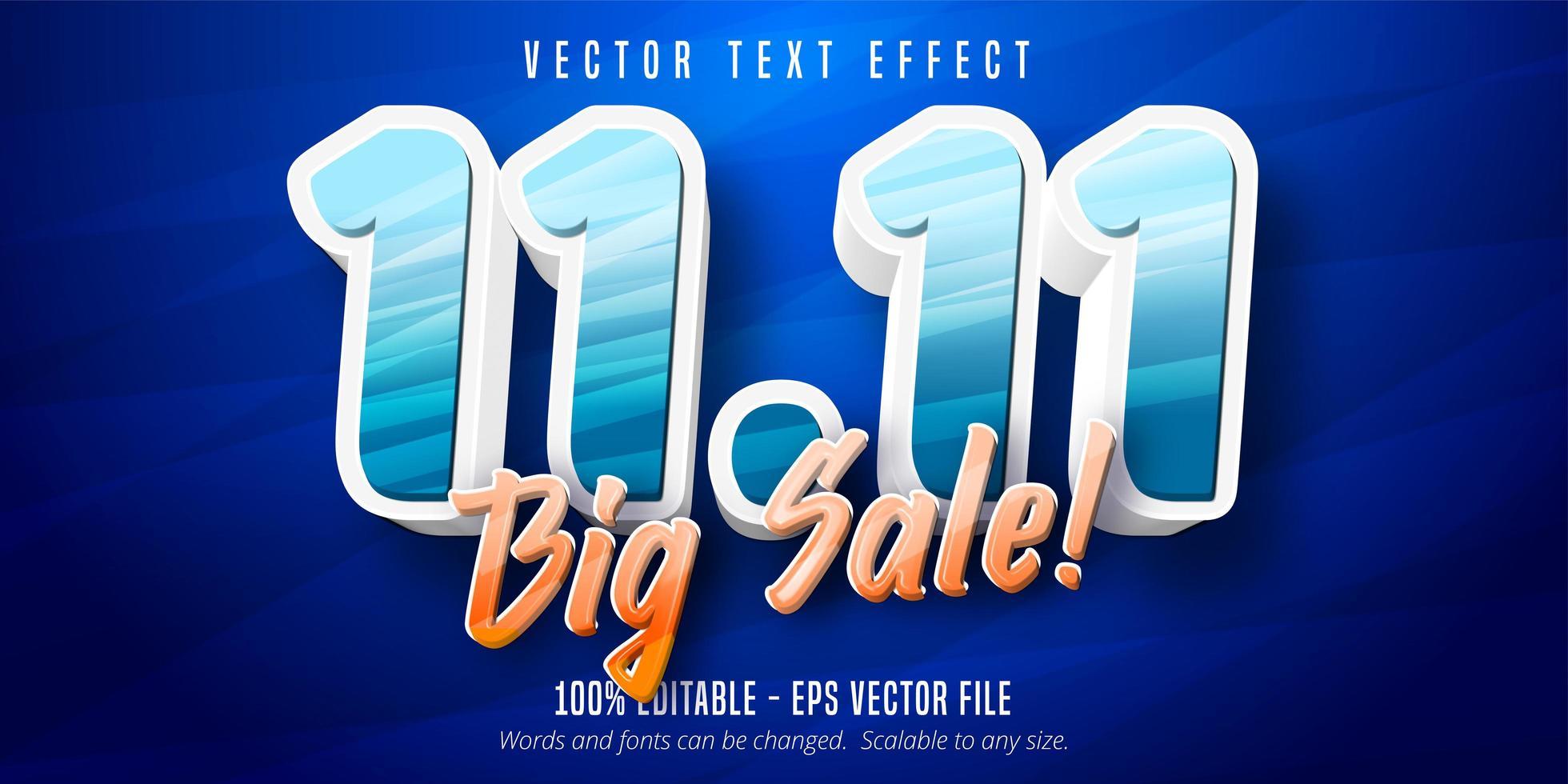 11.11 efeito de texto editável de texto de grande venda vetor