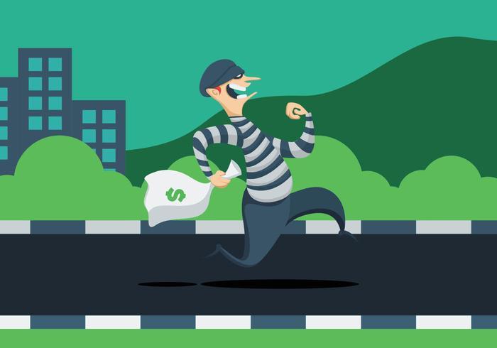 Ladrão com saco de dinheiro vetor