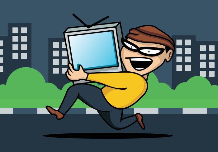 Ladrão roubando televisão vetor