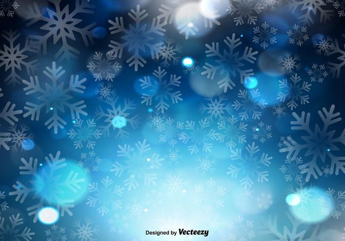 Fundo azul do vetor com flocos de neve