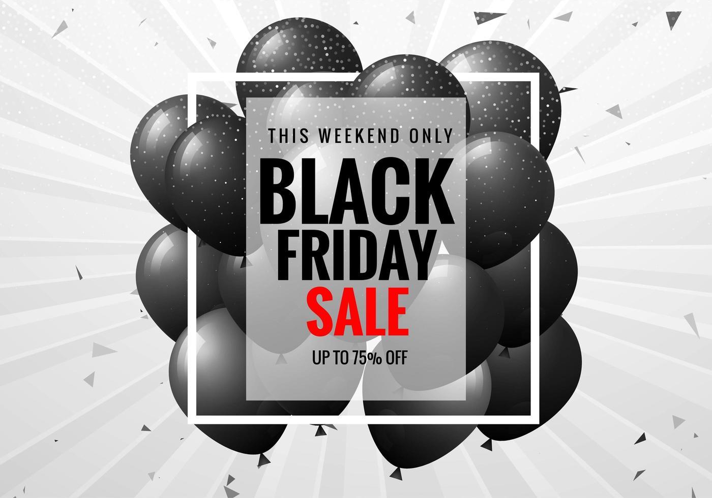 pôster preto de venda sexta-feira com balões e confetes vetor