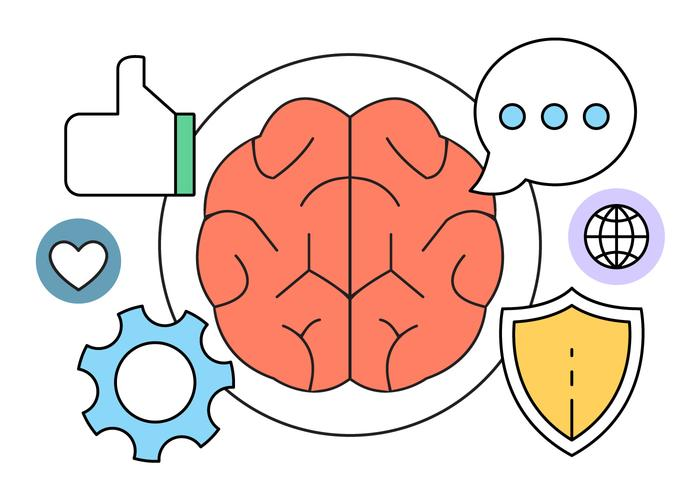 Ícones de vetor de inteligência e cérebro