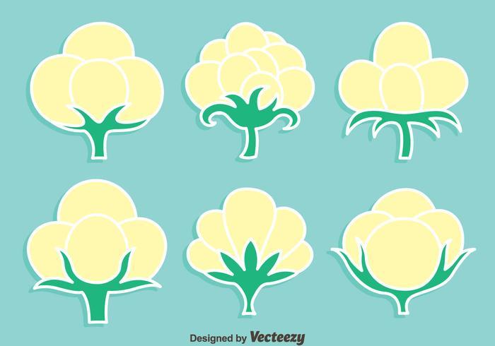 Conjunto De Vegadores De Flores De Algodão vetor