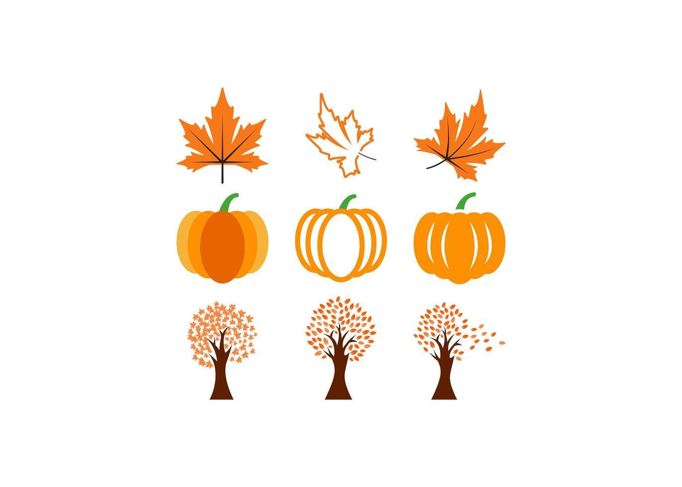 conjunto de elementos de outono vetor