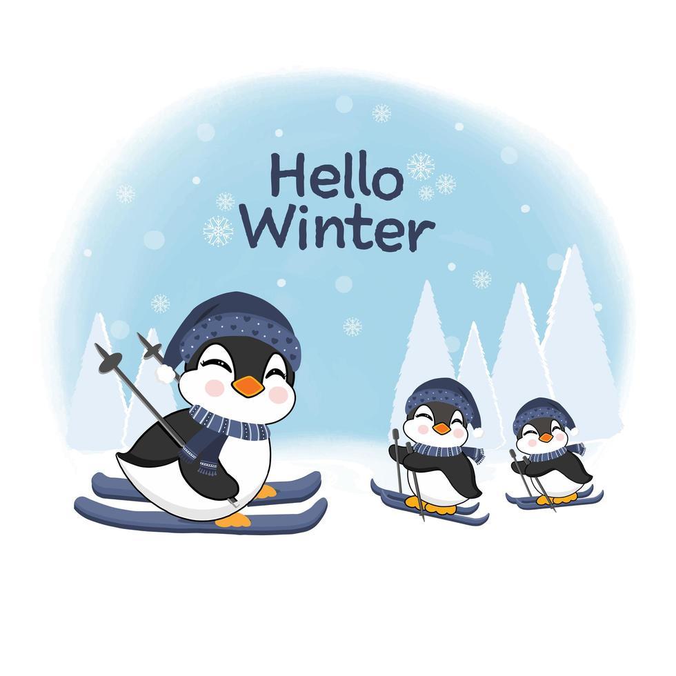 pequenos pinguins esquiando para o projeto da celebração do inverno vetor