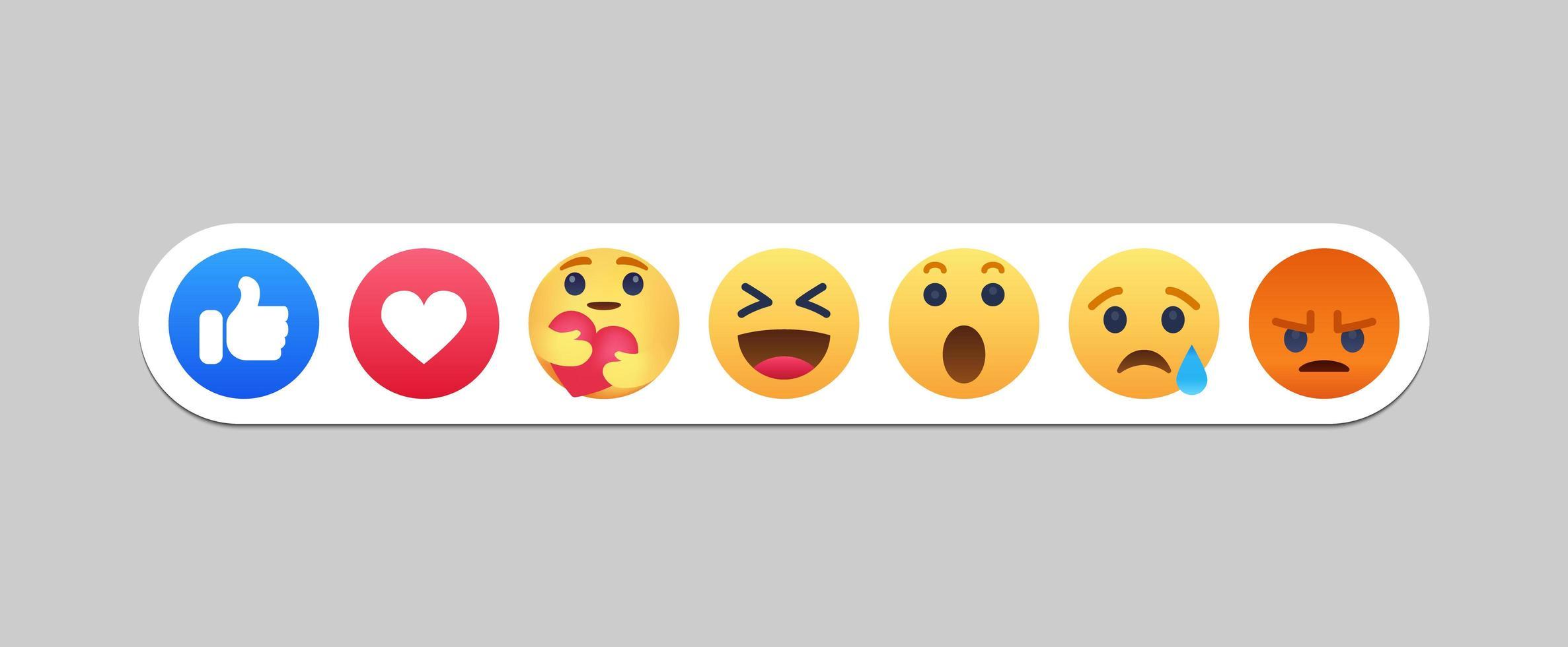 ícones de reações de redes sociais emoji vetor