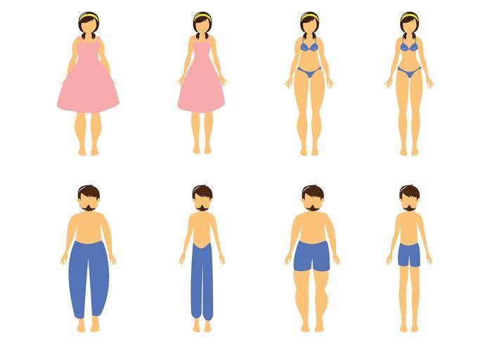 Free Cartoon Fat e Slim Woman and Man Vector