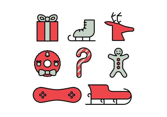 Conjunto de ícones do Feliz Natal vetor