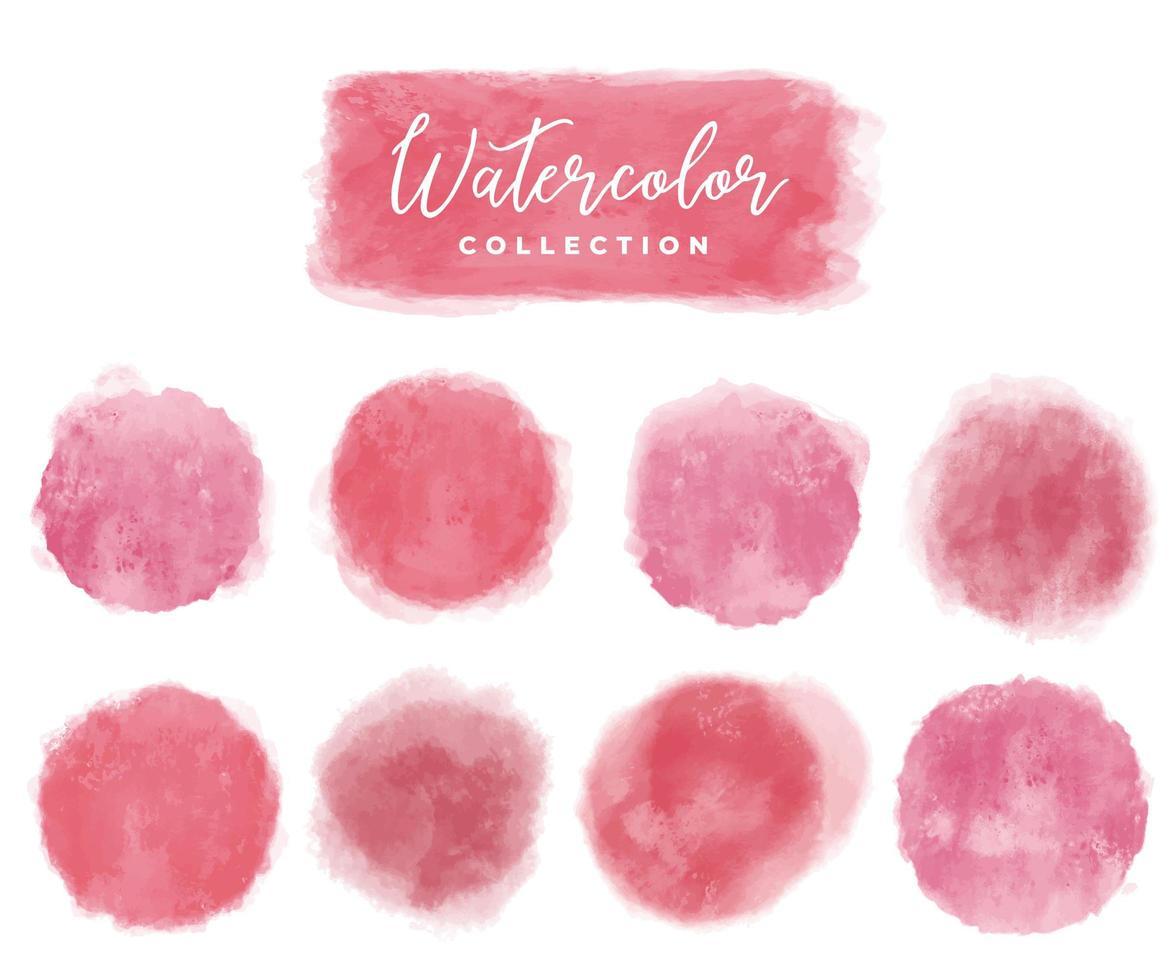 coleção aquarela elementos vermelho, rosa vetor