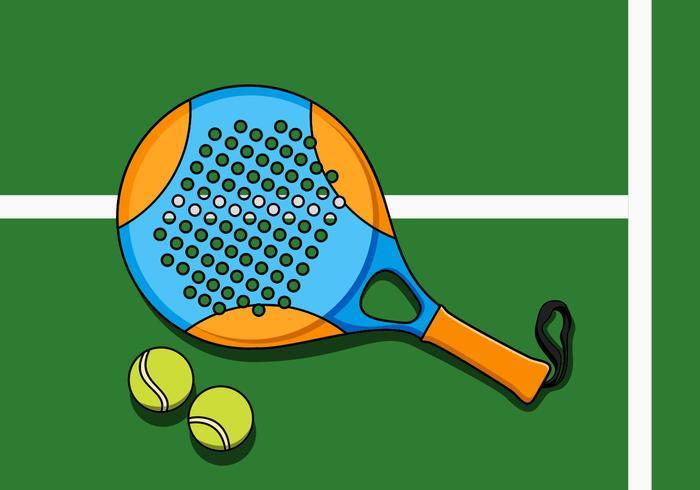 Ilustração de raquete e bola de padel vetor
