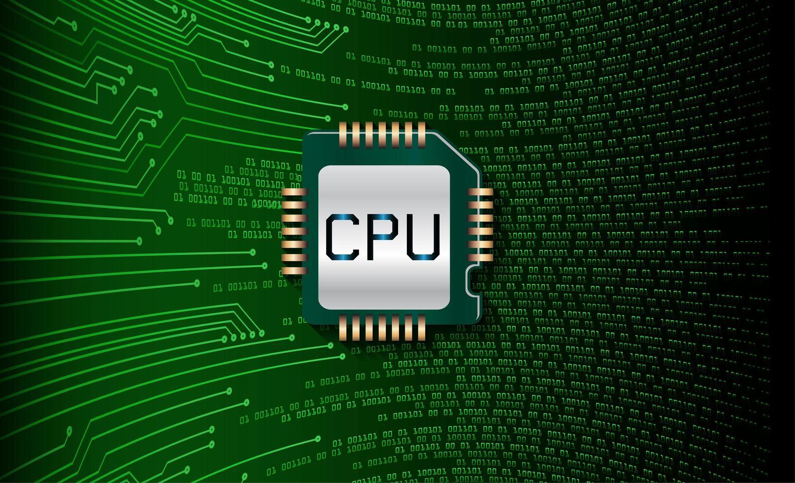 fundo de conceito de circuito cpu verde vetor