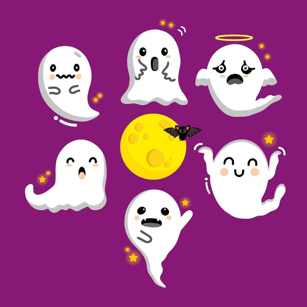 fantasma voador fofo em estilo cômico vetor