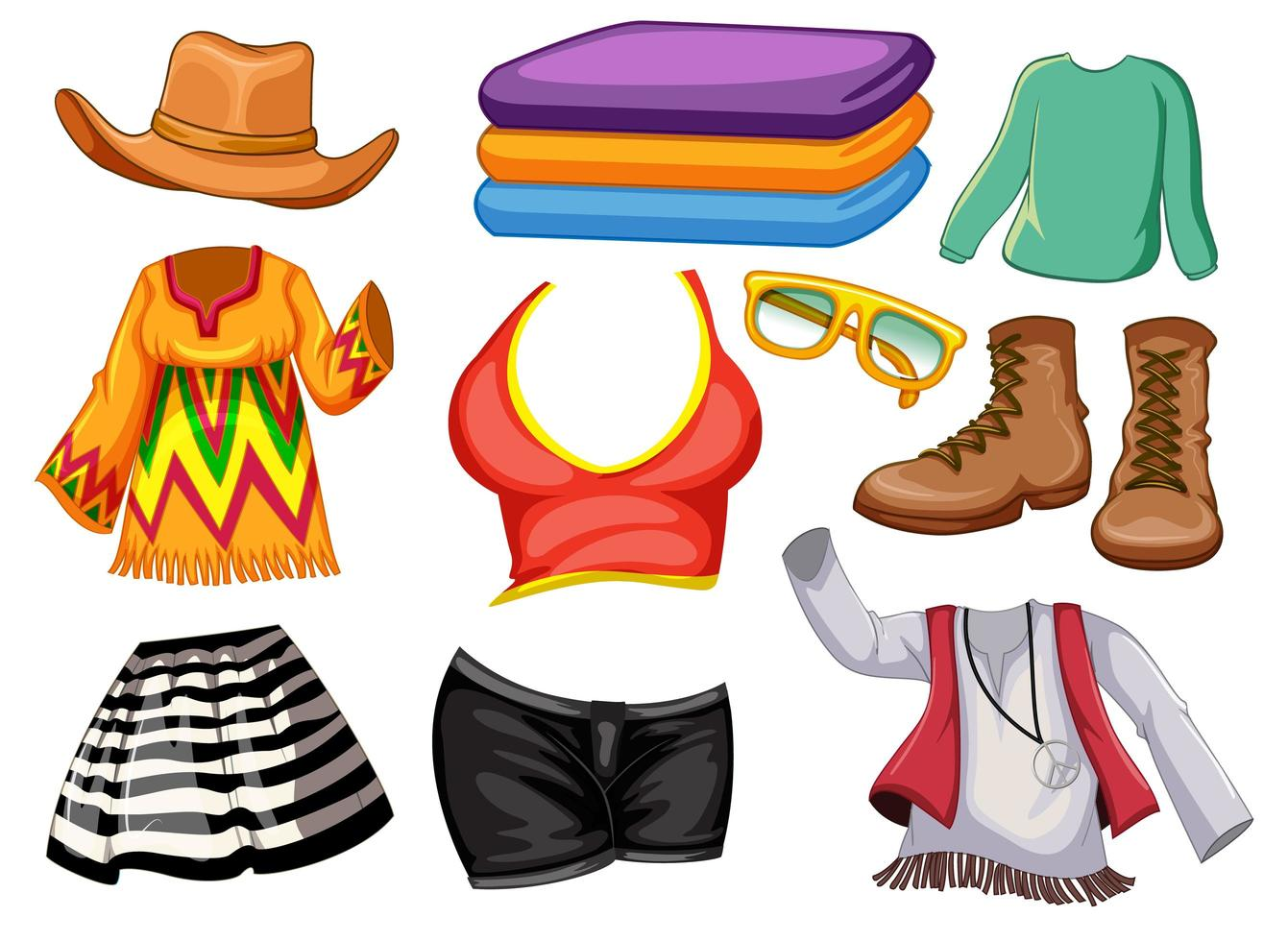 conjunto de roupas e acessórios vetor