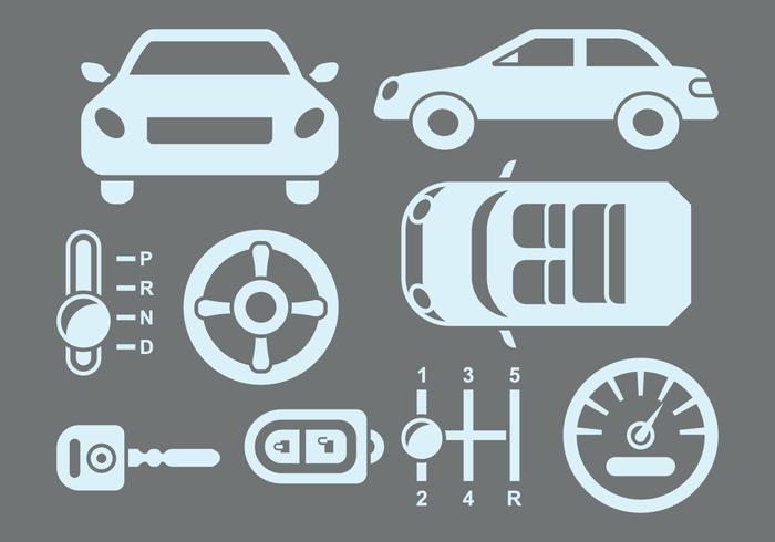 Ícones de peças de carro vetor