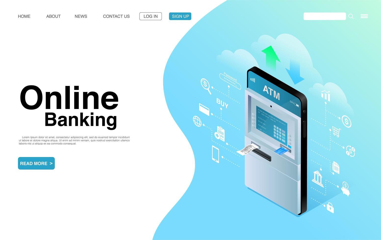 conceito de banco móvel e pagamento online vetor
