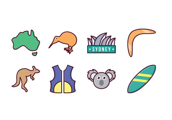 Free Australia Set de ícones vetor