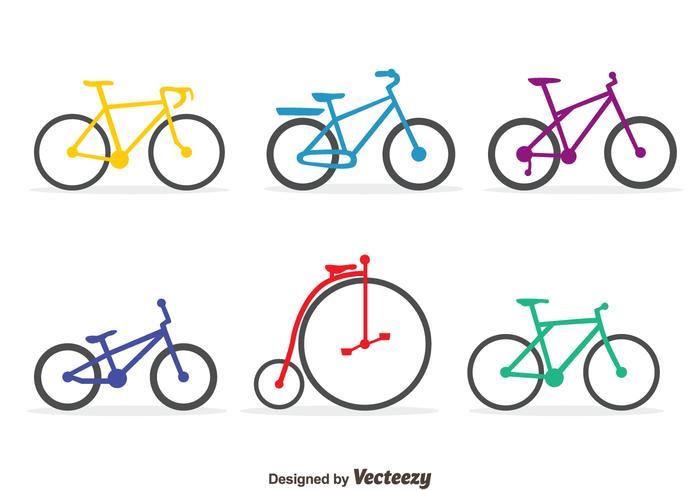 Conjunto colorido de vetores de bicicleta