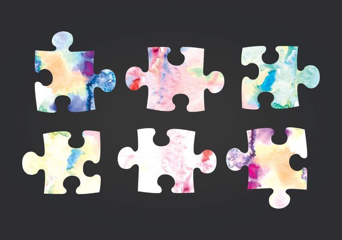 Peças de puzzle de aquarela de vetor