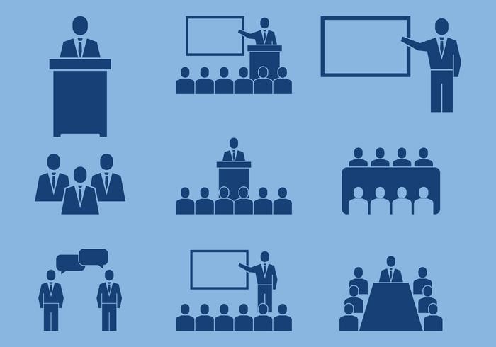 Ícones de conferência de negócios vetor