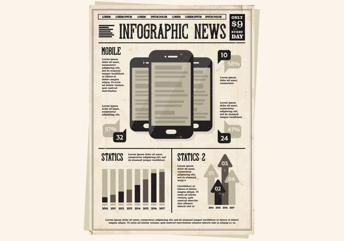 Ícone de ícones móveis de jornal vetor