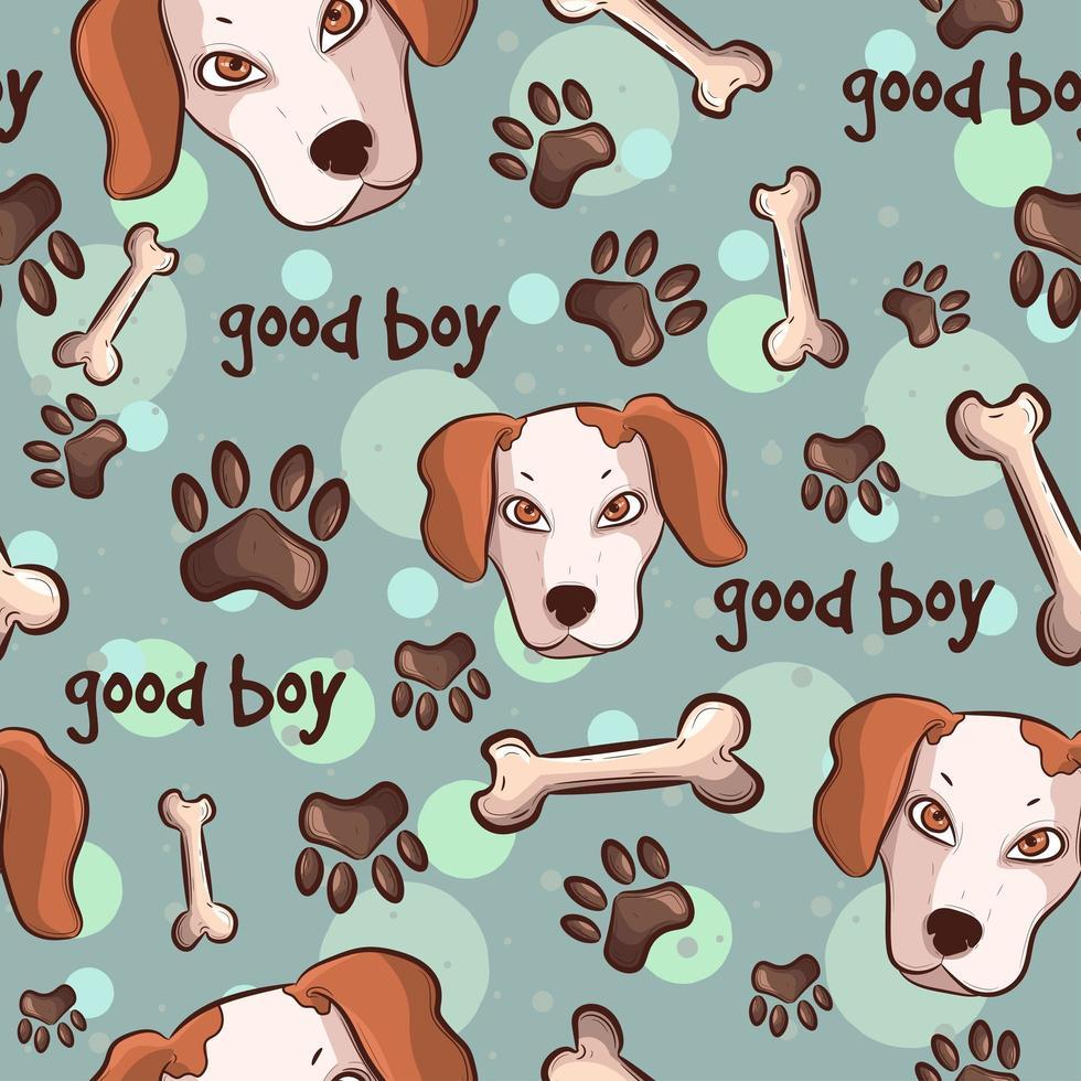 cães com patas e ossos, padrão uniforme vetor