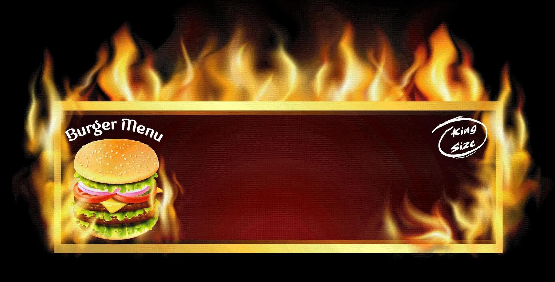 anúncio de menu de hambúrguer em chamas vetor