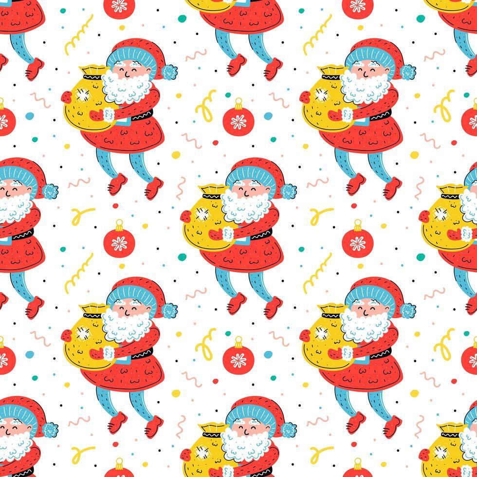 Papai Noel com saco desenhado à mão sem costura padrão vetor