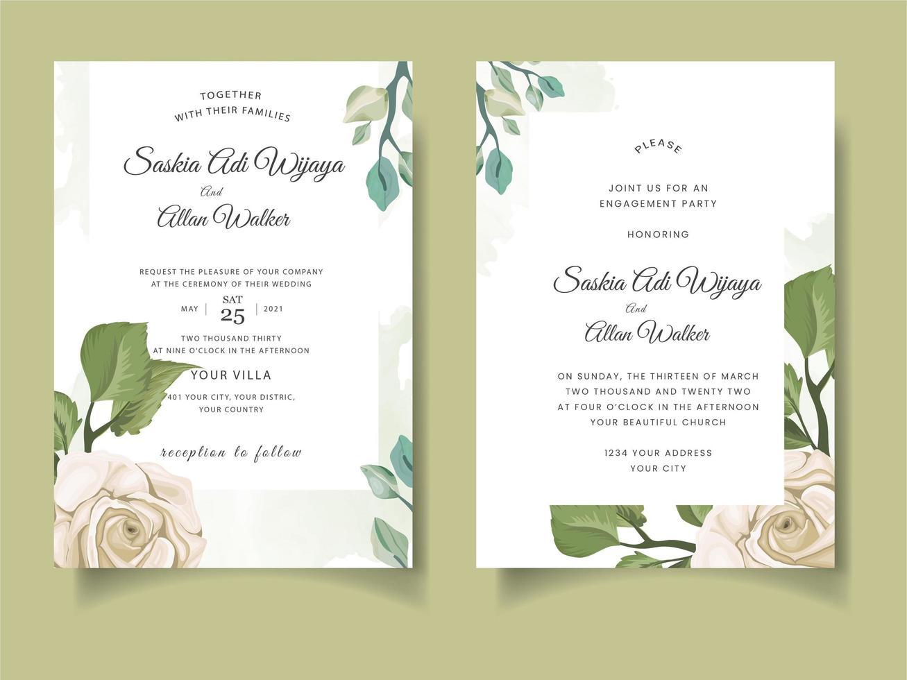 cartão de convite de casamento com rosas e folhas vetor