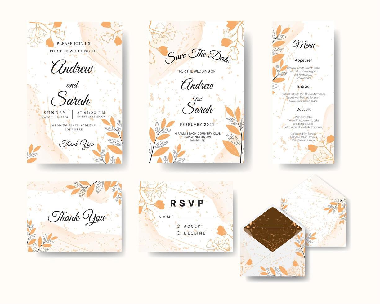 convite de casamento com arte floral e textura aquarela vetor