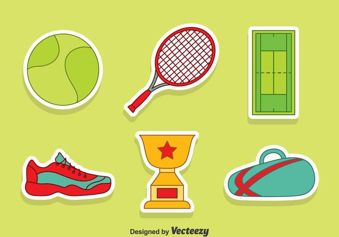 Conjunto de vetores de elementos de tenis agradáveis