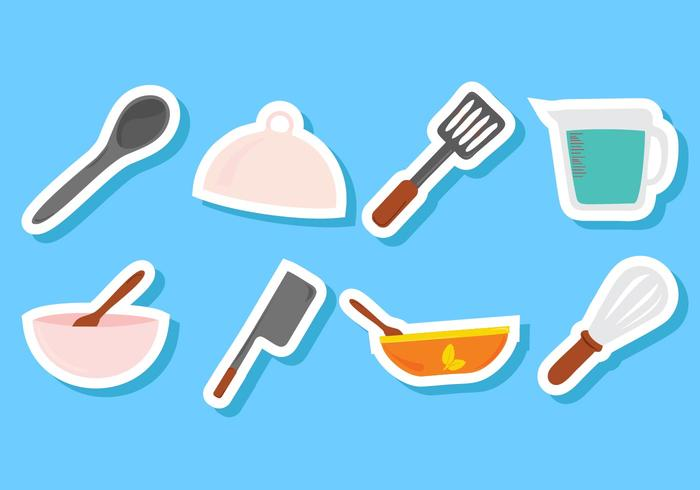 Ícones de utensílios de cozinha grátis vetor